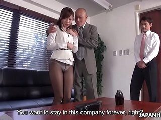 Japanese office lady, Aihara Miho got blackmailed added to fucked, uncensored