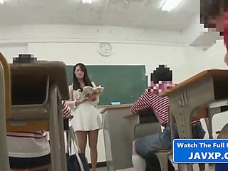 Oriental crammer with juvenile student,threatening japanese jav