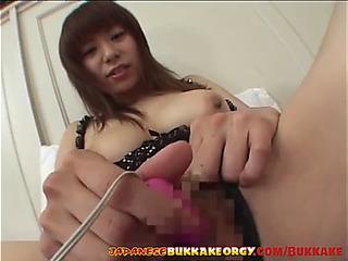 Cute japanese playgirl receives cum refuge japanese bukkake fuckfest
