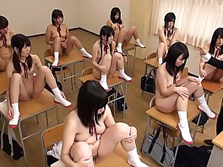 JAV CMNF class of nine stark unclothed schoolgirls controlled by clothed crammer featuring ungainly body check followed by masturbation reference in HD concerning English subtitles