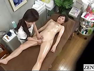 Japanese lesbian massage for stark denuded increased by oiled up academy student forth English subtitles