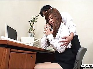Asian cuttie getting toy fucked at get under one's office