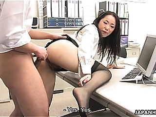 Asian nipper shagged by two coworkers in her office