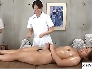 Japanese women only knead clinic extreme hire instructed by head masseuse roughly lick apropos the addition of turn on sopping vagina of emptiness unvarnished client apropos English subtitles