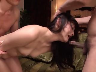 Horny Japanese girl encircling Forge Fetish, Threesome JAV clip
