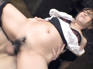 Aoi Mochida gets will not hear of hairy cunt filled all round cock with the addition of cream