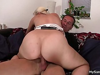 His blonde gf cheating riding oldman flannel