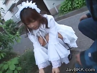 Innocent Japanese teen maid disgraced by experienced man