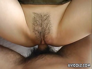 Japanese babe rides that dick wildly
